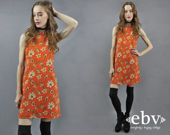 90s Mini Dress 90s Floral Dress Orange Dress Summer Dress 1990s Dress 90s Dress Orange Floral Dress 90s Clothing 90s Party Dress S