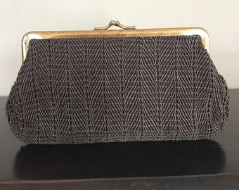 1940's/1950's brown clutch weave fabric