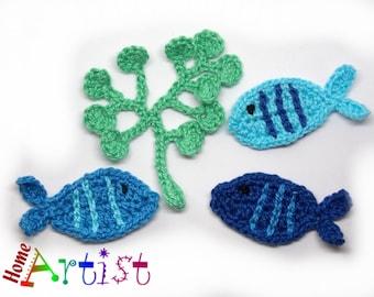 Crochet Applique Fish set