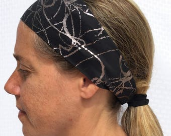 Headband Ponytail Combo 2 in 1 - Single Layer Wide - RUN SWIM BIKE spandex athletic headband motorcycle gear exercise Pretty Practical Bands
