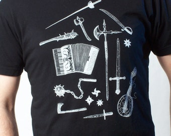 Music Tshirt - Weapons - Men's Tshirt - Graphic Tee - Accordian - Men's Gift - Medieval Weapons - Sword Art