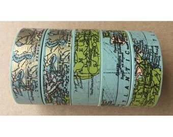 World Map Washi Tape, Nautical Map Washi Tape
