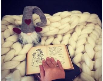 Blanket - Baby blanket - Swaddle blanket - Throw blanket - Wool blanket - Crochet blanket - Chunky yarn blanket - Knitted blanket - grey