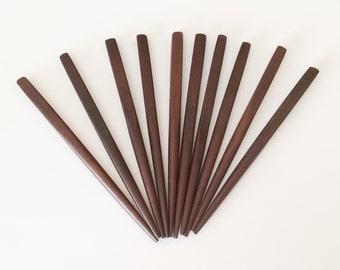 """10 Hair Sticks Shawl Pins, Brown Wood Hair Sticks, 4 1/2"""" Small Square"""