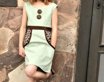 Vintage Apron Dress Sewing Pattern, girls dress pattern, childrens sewing patterns, vintage style dress pattern