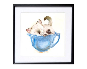 Siamese Cat Painting Print Cat Artwork Watercolor, Himalayan cat in cup, water colour painting of kitty, Siamese cat theme Kitty wall art