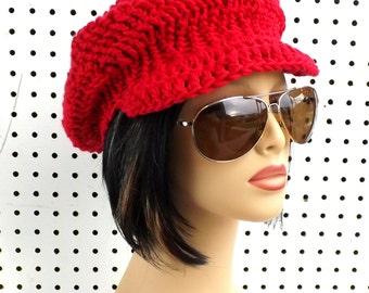 Newsboy Hat Newsboy Beanie Hat, Crochet Hat Womens Hat Trendy, Cotton Beanie, Annie Red Hat