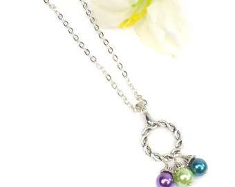 Mothers Day Gift For Mom, Circle of Love Necklace, Birthstone Necklace For Mom, Mothers Jewelry ABeadedStory