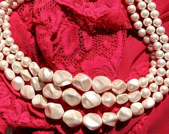 Baroque Vintage Pearls Necklace Bib Pink Wedding Statement 3 Multi Strand Adjustable Triple Graduated Mid Century Beaded Satin Nuggets