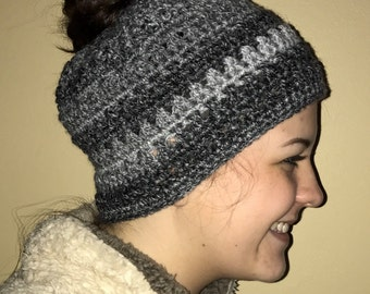 Messy Bun Beanie - Crochet Beanie - Messy Bun Hat - Crochet Hat - Ponytail Hat - Gifts for Her