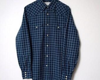 Western Shirt Men's Vintage Blue Plaid Cowboy Checkered Pearl Snap Button Dude Shirt Size Small