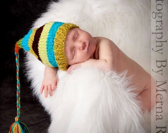 Newborn Baby Boy Hat Knit BaBY PHoTO PRoP Stocking Cap Tassel Beanie BeBOP Turquoise Brown Olive Orange PiCK CoLoR Coming Home FCN Toque