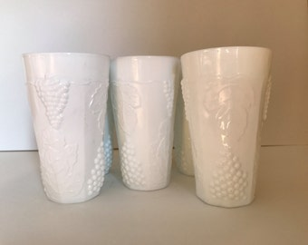 Vintage Set of four  Indiana Glass Colony Harvest Milk Glass Tumblers