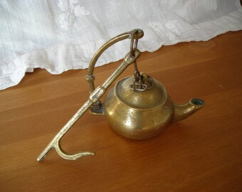 Old French Oil Lamp.   Vintage Hanging Oil Lamp.