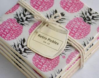 Ceramic Tile Coasters - Retro Pineapples 031