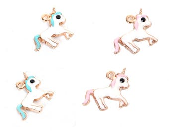 5 pendants in the shape of a Unicorn in gilt and enamel 1.6 cm / Animal / fairy