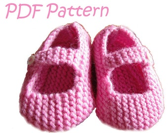Knitting Pattern for Mary Jane Baby Shoes 6-12 months - PDF