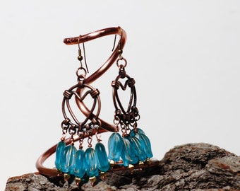 Blue chandelier royal earrings