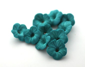 Teal Flower Beads, Flower Beads, Polymer Clay Beads, Blue Green, 10 pieces