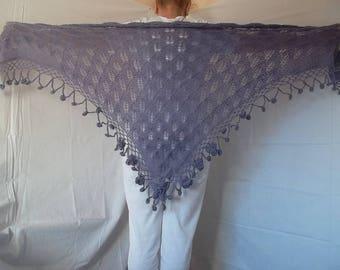 LIQUIDATION Stock 30% OFF Women Triangle Shawl Wraps Accessories Hand Knitted Lavender Ready To Ship Crocheted Elegant Shrug Bolero Capelet