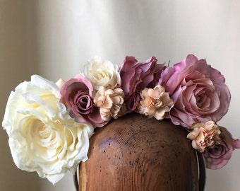 Flower Crown - Ivory & Dusty Pink Fascinator