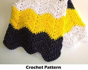 Easy crochet blanket pattern, crochet baby blanket pattern, chevron blanket pattern, crochet chevron blanket, bumblebee blanket pattern