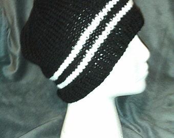 Hand-Knit Black Beanie with White Stripes