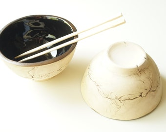 Ceramic Bowls, Set of 2, Black Bowls, Miso Bowl, Noodle Soup Bowl, Ramen Bowl, Pho Bowl, Thai Food Dish, Pottery Bowl, Ceramic Handmade Bowl