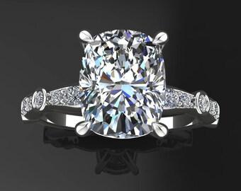 amelia ring - 2.4 carat elongated cushion cut ZAYA moissanite engagement ring