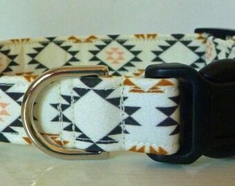 "Tribal Aztec Dog Collar - Beige, Black, Golden Brown & Peach - ""Arizona"" - Free Colored Buckles"