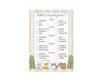 What's in Your Purse Game, Whats in Your Purse Baby Shower Game, Woodland Forest Friends Instant Download   215 Printable
