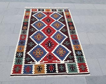 "Kilim Rug Turkish Kilim Rug Area Rug Vintage Turkish Rug Handmade Wool Rug Anatolian Kilim Rug 4' x 6' Feet 48"" x 72"" Inches Free Shipping !"