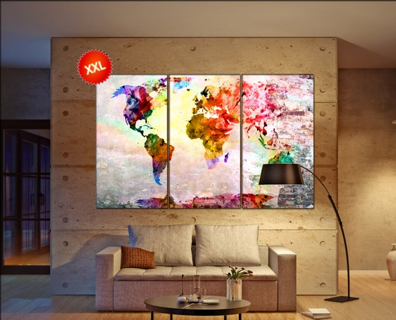 map   print on canvas wall art map  artwork large world map Print home office decoration