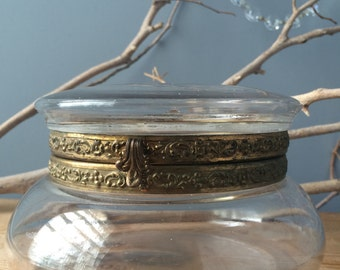 VINTAGE DECOR...glass bowl jar box, brass hardware lid,round box, treasure vanity boho