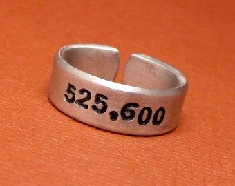 Rent Inspired - 525,600 - A Hand Stamped Aluminum Ring