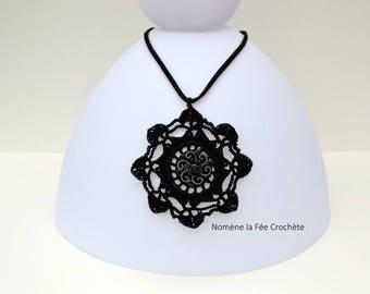 Black pendant necklace, medallion, handmade crochet rose and silver jewel Center