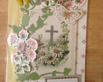 Handmade Sympathy Card, 3D, Floral, Cross Scene, Greenery, Butterflies, Sentiment