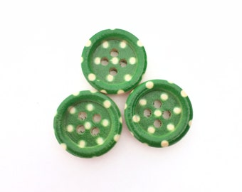 Green Polka Dot Button - Wooden Buttons - Small Button (15mm Button) Half Inch Button - Painted Buttons - 4 Hole Button Sewing Notion