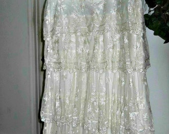 Vintage lace jean skirt exquisite ruffled layered tiered embroidered fairy goddess Gatsby era Renaissance Denim Couture