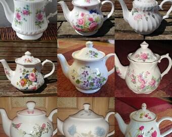 Job Lot of 3 (3 pcs) **LARGE** Vintage Mismatched Teapots Set Floral Chintz - Tableware Mad Hatters Party Wedding Crockery Tea Room Cafe