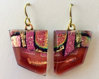 Coral sunset fused dichroic glass drop earrings
