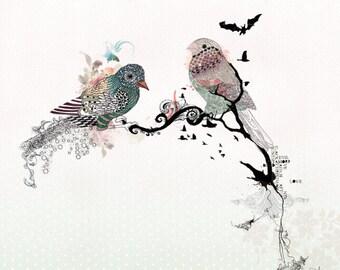 Love birds art, watercolor art, Bird illustration, Love birds painting, 11x14 print