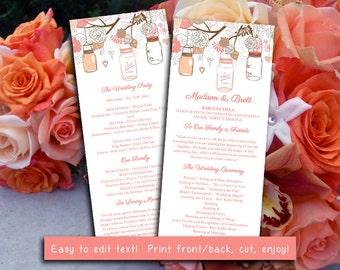 Mason Jar Wedding Program Microsoft Word Template | Coral Peach Chocolate Brown Ceremony Program | Printable Tea Length Wedding Program