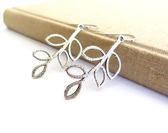 Dangling Leaves Silver Earrings