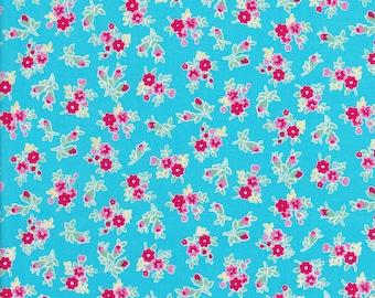 Tiny Pink Flowers - Tiny Red Flowers - Aqua Fabric - Flower Sugar Berry Fabric - Lecien Fabric