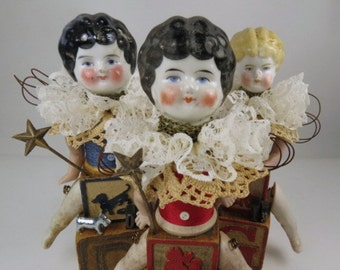 "Angel ""Cat Whiskers"" Assemblage Art Doll with Antique Doll Parts and Vintage Blocks"