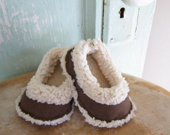 Baby Shoe Pattern - Lambs Wool and Suede Baby Loafers Size newborn to 2T