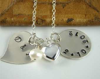 Wedding Gift for the Bride Pendant Necklace, Personalized Hand Stamped Sterling Silver Initials Date