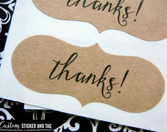 60 thanks stickers, bracket shape, caligraphy stickers, product stickers, favor stickers, envelope seals, thank you stickers (S-78)