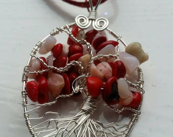 Red Coral and Peruvian Pink Opal, Tree of Life Necklace